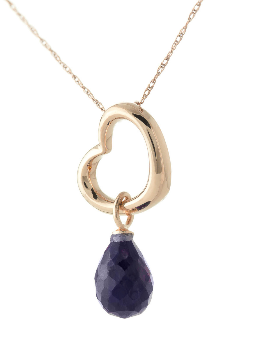 Pear Cut Sapphire Pendant Necklace 3.3ct in 9ct Rose Gold
