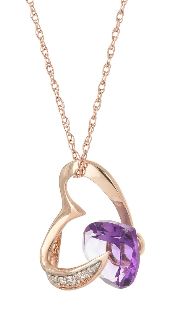 Amethyst and Diamond Pendant Necklace 3.1ct in 9ct Rose Gold