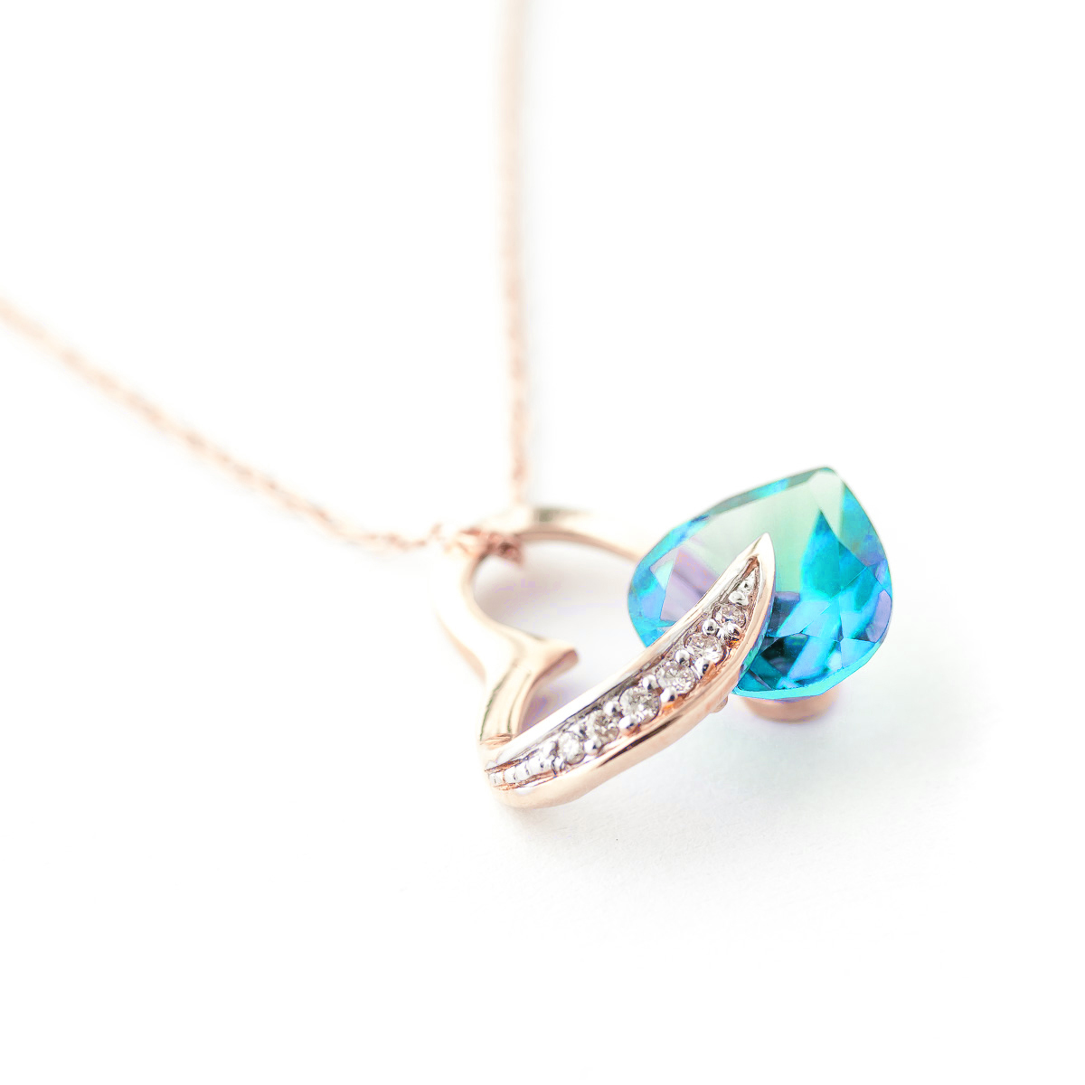 Blue Topaz and Diamond Pendant Necklace 4.5ct in 9ct Rose Gold