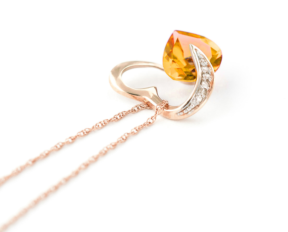 Citrine and Diamond Pendant Necklace 3.1ct in 9ct Rose Gold