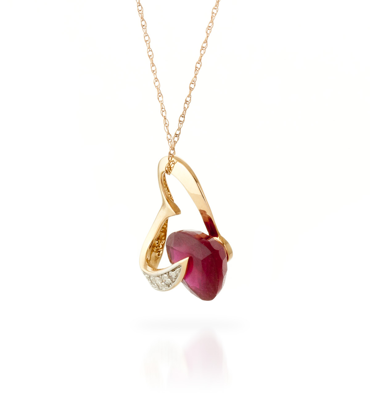 Ruby and Diamond Pendant Necklace 4.3ct in 9ct Rose Gold