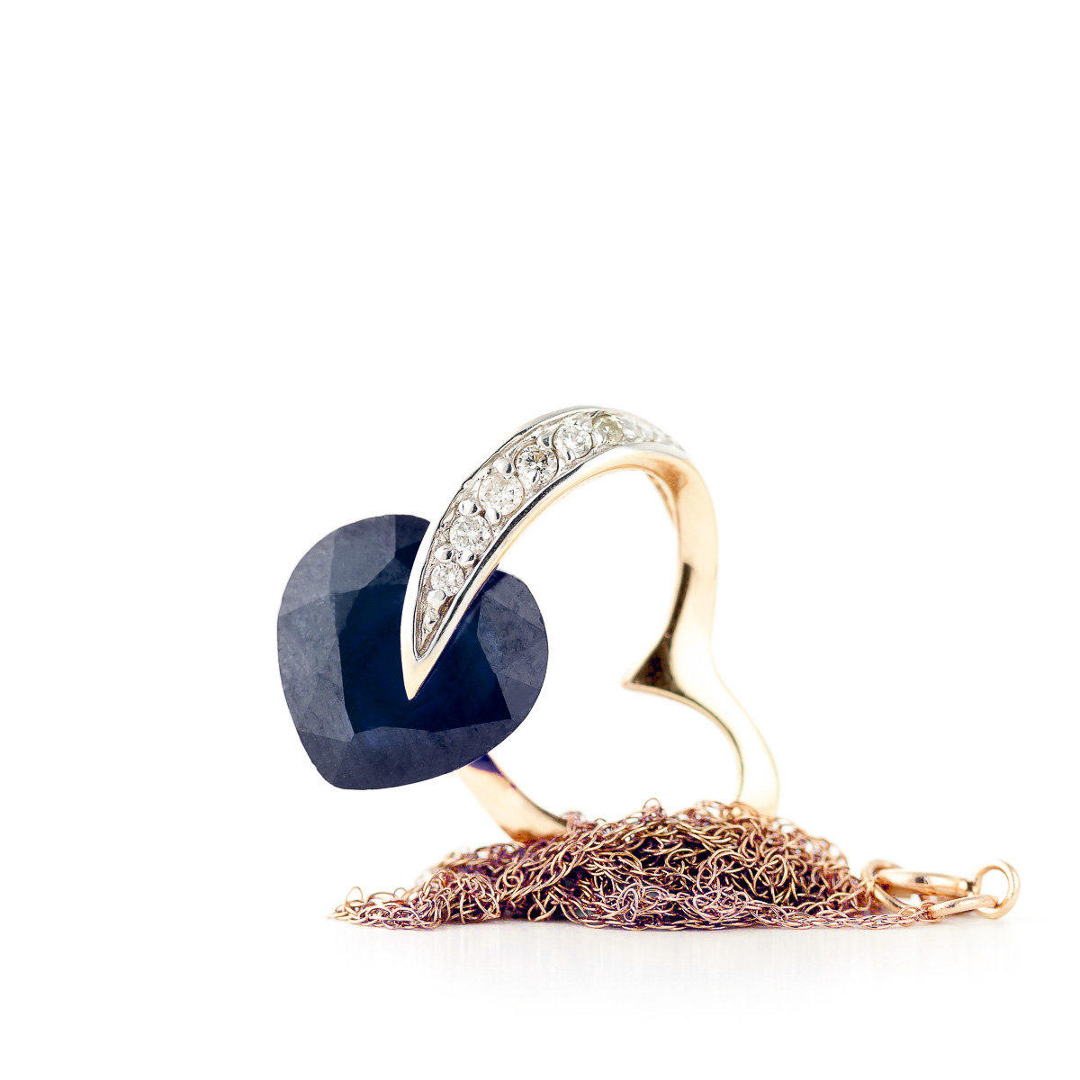 Sapphire and Diamond Pendant Necklace 4.3ct in 9ct Rose Gold