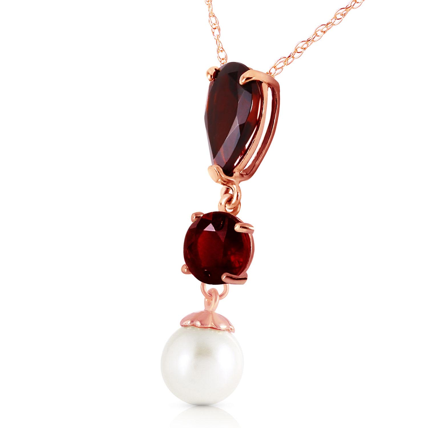 Garnet and Pearl Hourglass Pendant Necklace 5.25ctw in 9ct Rose Gold