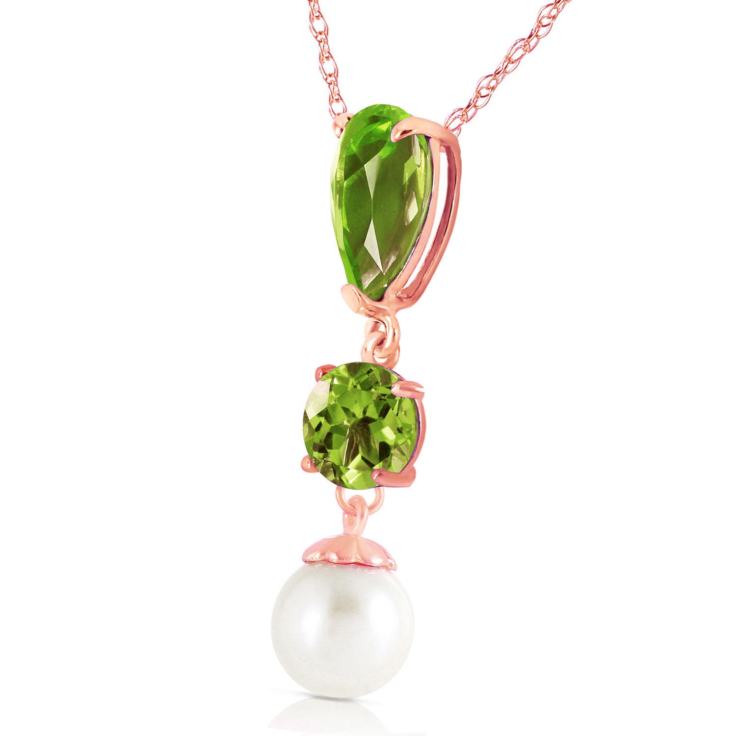 Peridot and Pearl Hourglass Pendant Necklace 5.25ctw in 9ct Rose Gold
