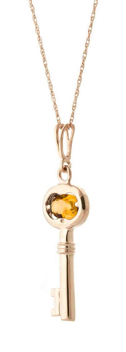 Citrine Key Charm Pendant Necklace 0.5ct in 9ct Rose Gold