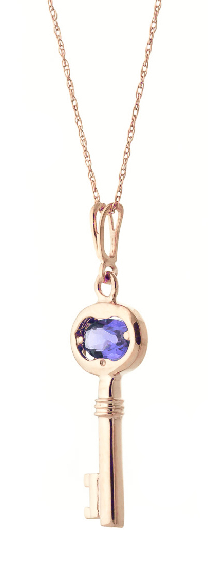 Tanzanite Key Charm Pendant Necklace 0.5ct in 9ct Rose Gold