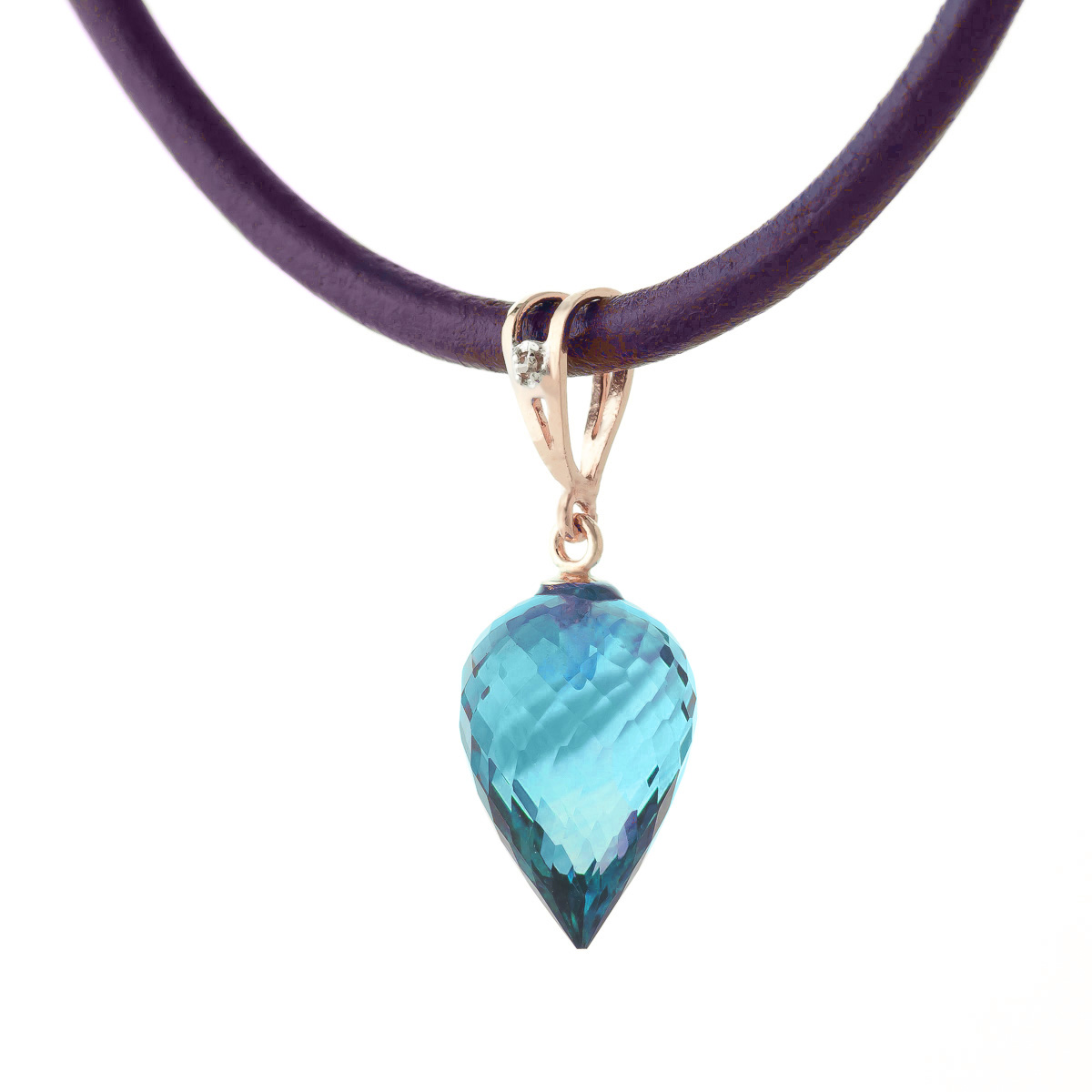 Blue Topaz and Diamond Leather Pendant Necklace 11.25ct in 9ct Rose Gold