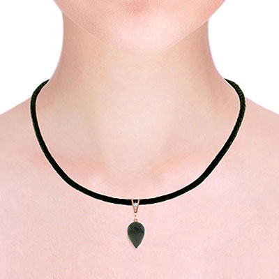 Black Spinel and Diamond Leather Pendant Necklace 12.25ct in 9ct Rose Gold