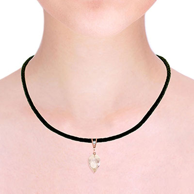 White Topaz and Diamond Leather Pendant Necklace 12.25ct in 9ct Rose Gold