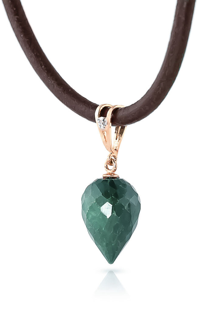 Emerald and Diamond Leather Pendant Necklace 13.0ct in 9ct Rose Gold