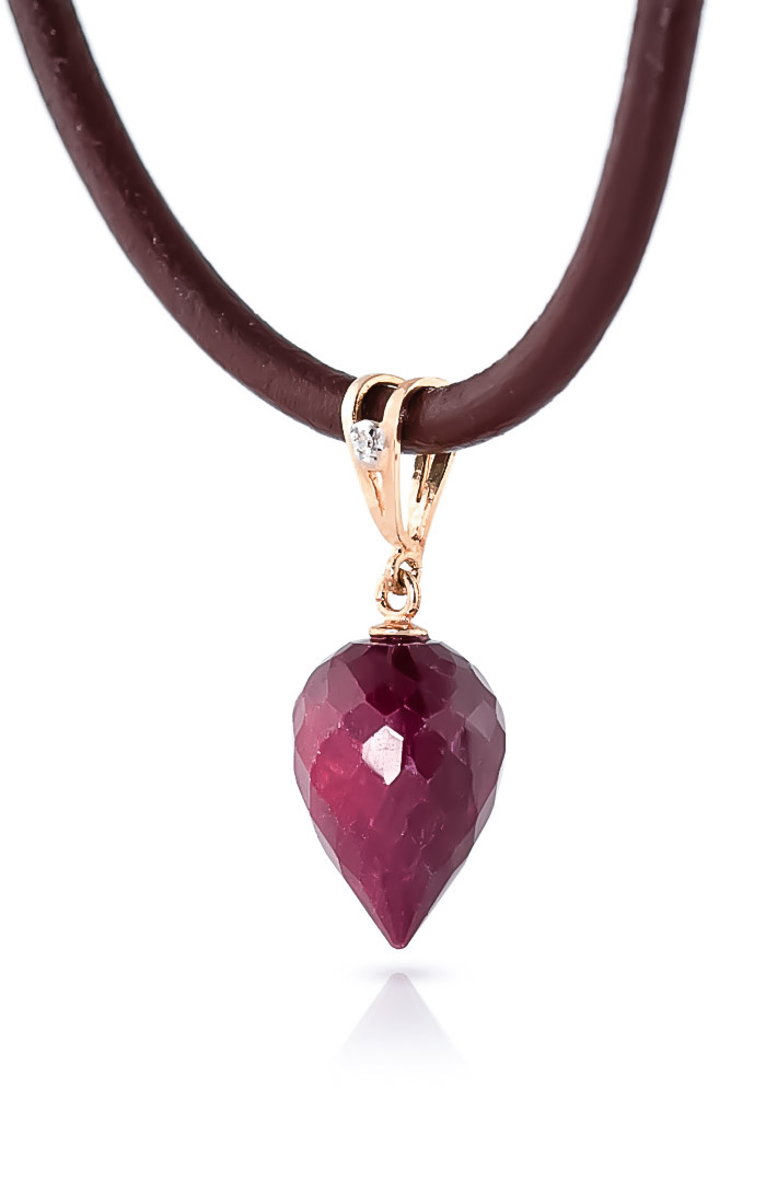 Ruby and Diamond Leather Pendant Necklace 13.0ct in 9ct Rose Gold