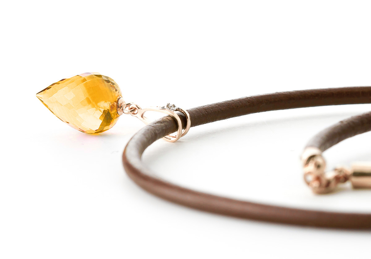 Citrine and Diamond Leather Pendant Necklace 9.5ct in 9ct Rose Gold