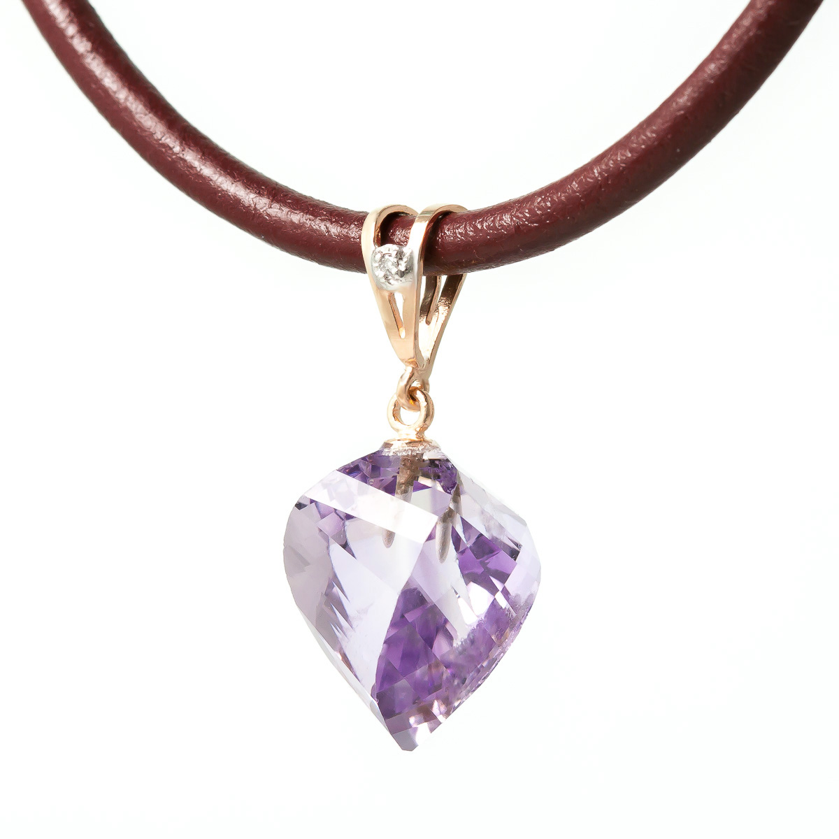 Amethyst and Diamond Leather Pendant Necklace 10.75ct in 9ct Rose Gold