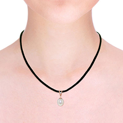 Pearl and Diamond Leather Pendant Necklace 4.0ct in 9ct Rose Gold