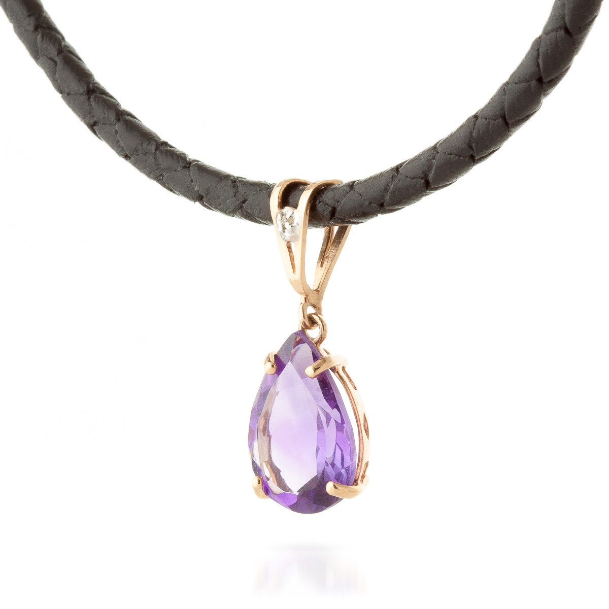 Amethyst and Diamond Leather Pendant Necklace 6.0ct in 9ct Rose Gold