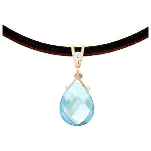 Blue Topaz and Diamond Leather Pendant Necklace 6.5ct in 9ct Rose Gold