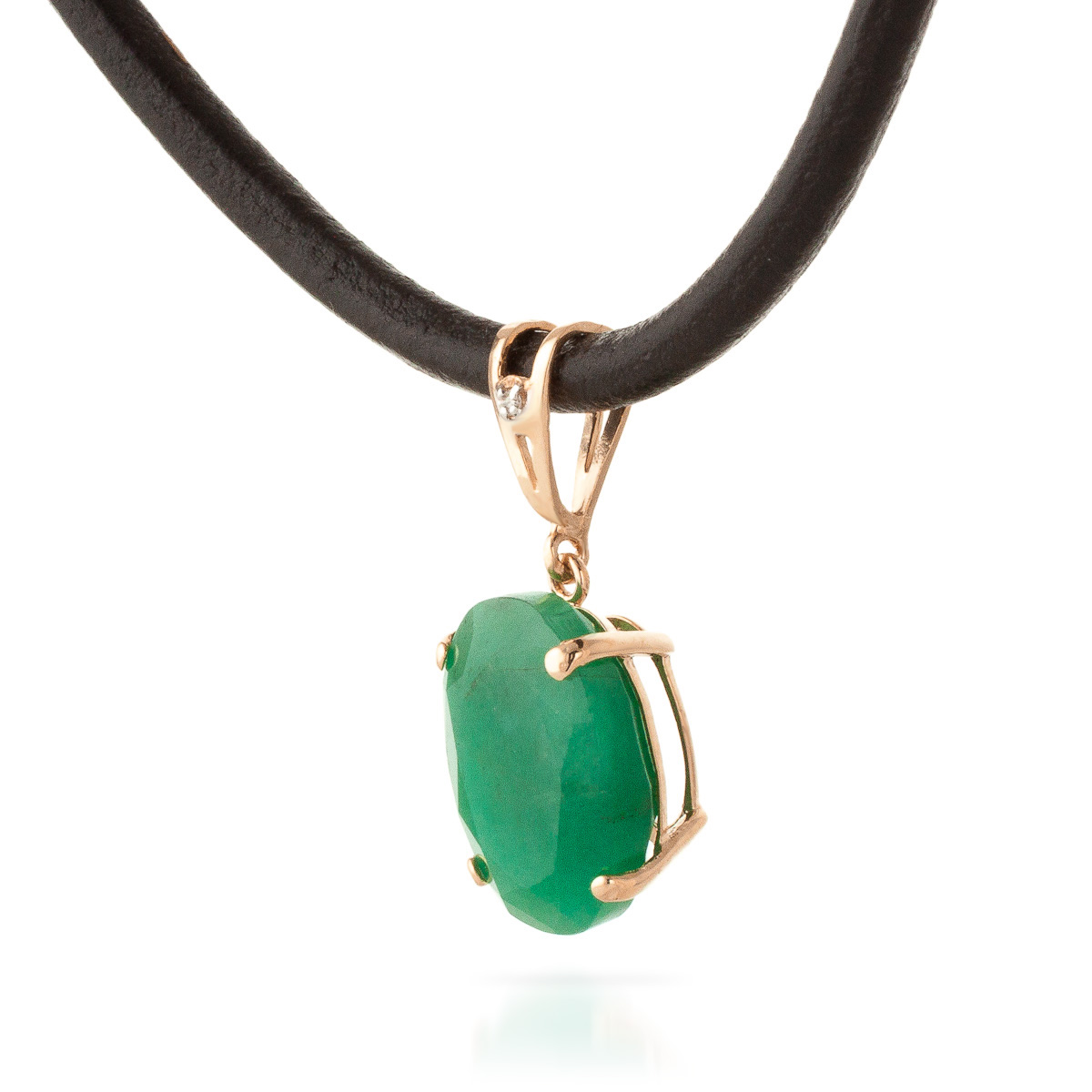 Emerald and Diamond Leather Pendant Necklace 6.5ct in 9ct Rose Gold