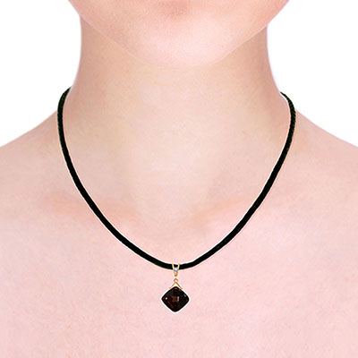 Garnet and Diamond Leather Pendant Necklace 8.75ct in 9ct Rose Gold