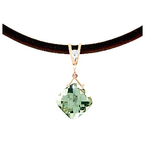 Green Amethyst and Diamond Leather Pendant Necklace 8.75ct in 9ct Rose Gold