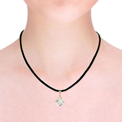 White Topaz and Diamond Leather Pendant Necklace 8.75ct in 9ct Rose Gold