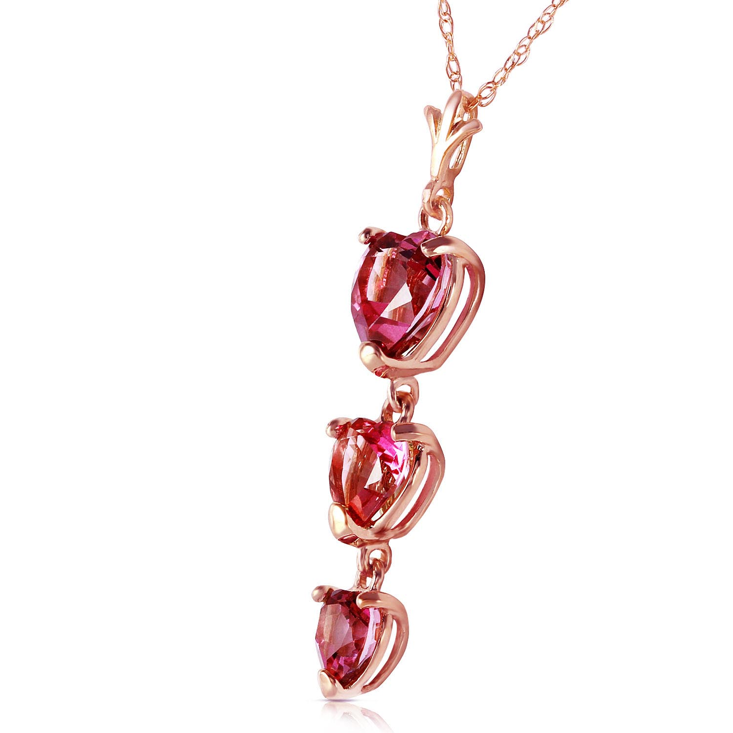 Pink Topaz Triple Heart Pendant Necklace 3.03ctw in 9ct Rose Gold