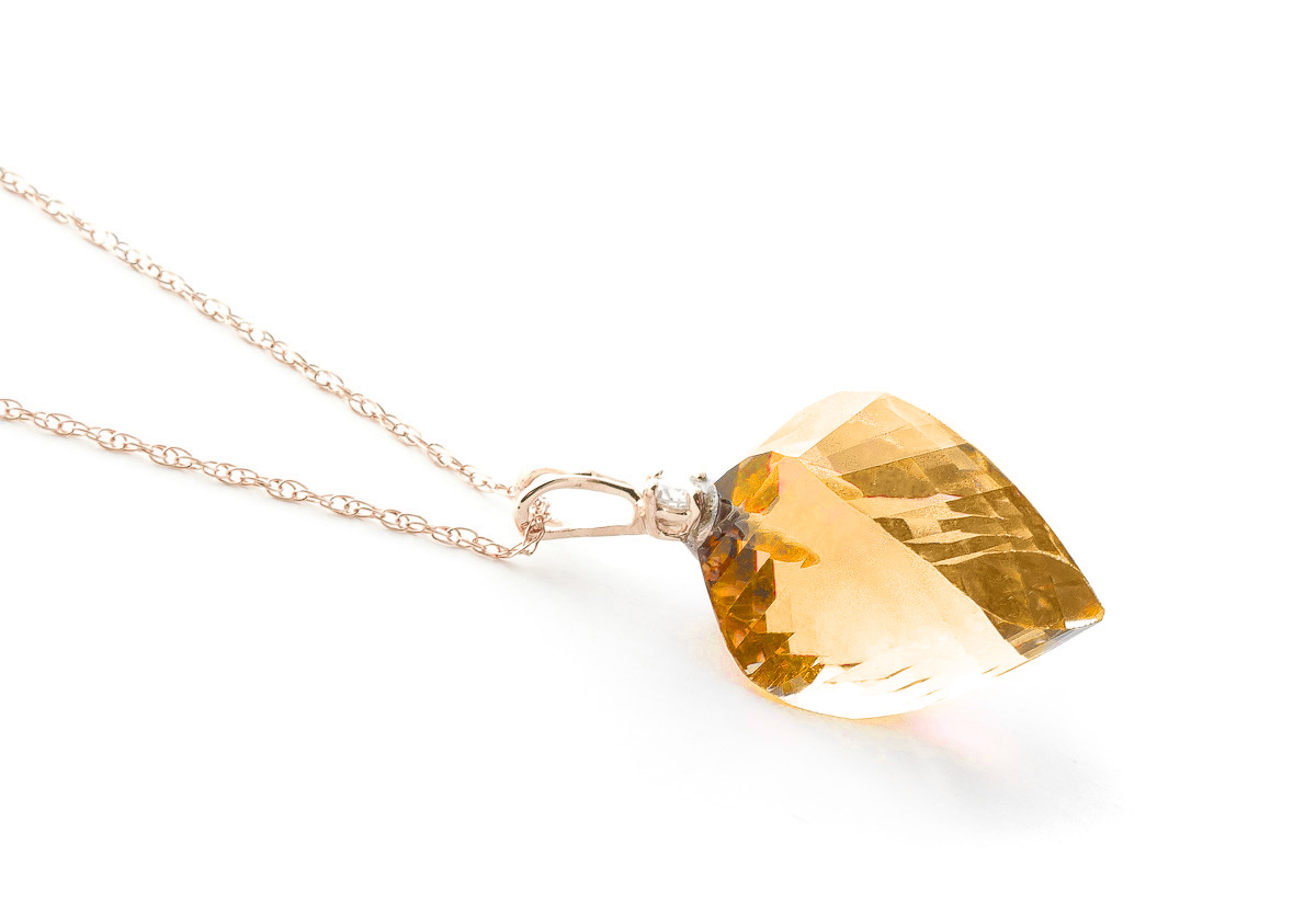 Citrine and Diamond Pendant Necklace 11.75ct in 9ct Rose Gold