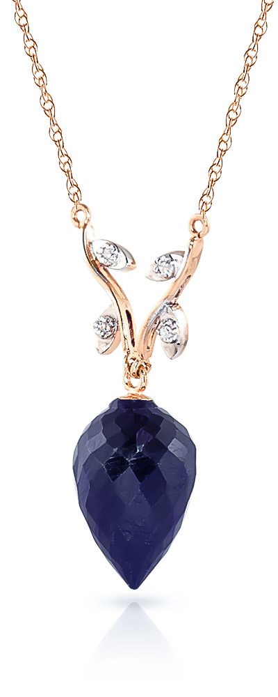Sapphire and Diamond Pendant Necklace 12.9ct in 9ct Rose Gold