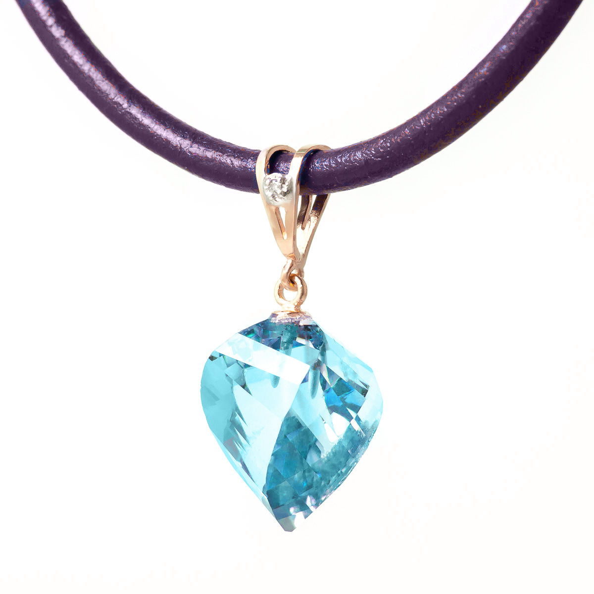 Blue Topaz and Diamond Pendant Necklace 13.9ct in 9ct Rose Gold