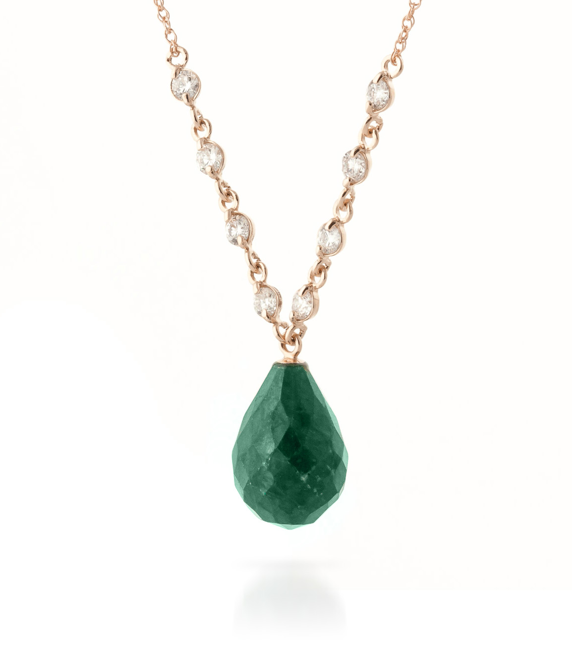Emerald and Diamond Pendant Necklace 14.8ct in 9ct Rose Gold