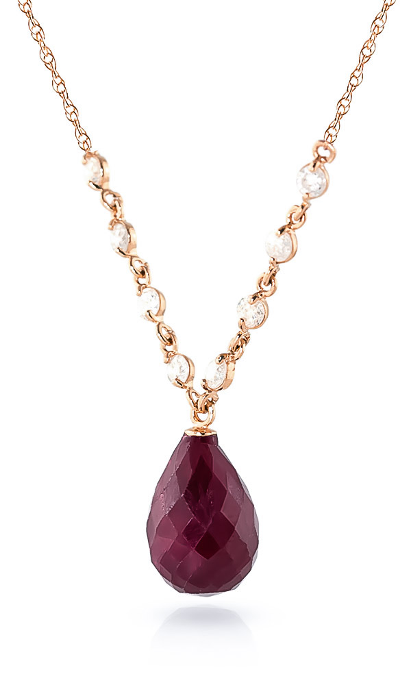 Ruby and Diamond Pendant Necklace 14.8ct in 9ct Rose Gold