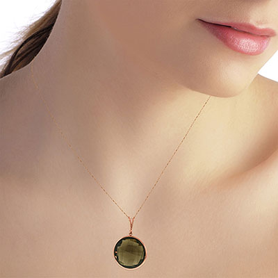 Round Brilliant Cut Smoky Quartz Pendant Necklace 17.0ctw in 9ct Rose Gold