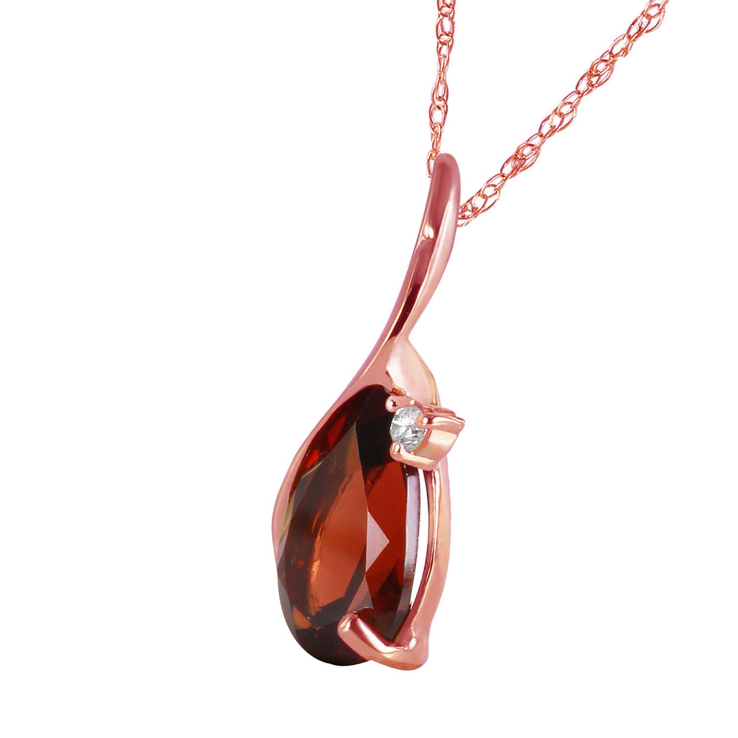 Garnet and Diamond Pendant Necklace 2.0ct in 9ct Rose Gold