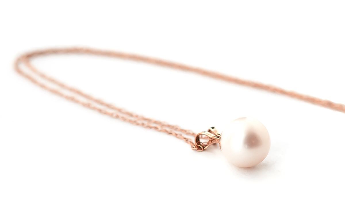 Round Brilliant Cut Pearl Pendant Necklace 2.0ct in 9ct Rose Gold ...