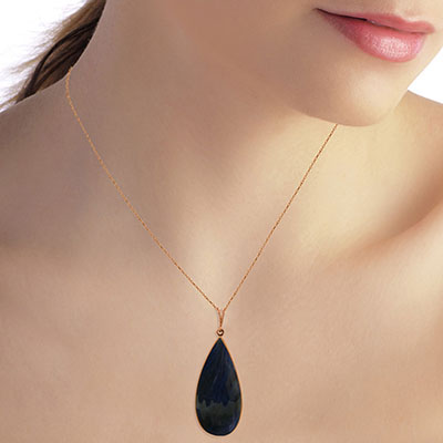 Pear Cut Sapphire Pendant Necklace 21.0ctw in 9ct Rose Gold
