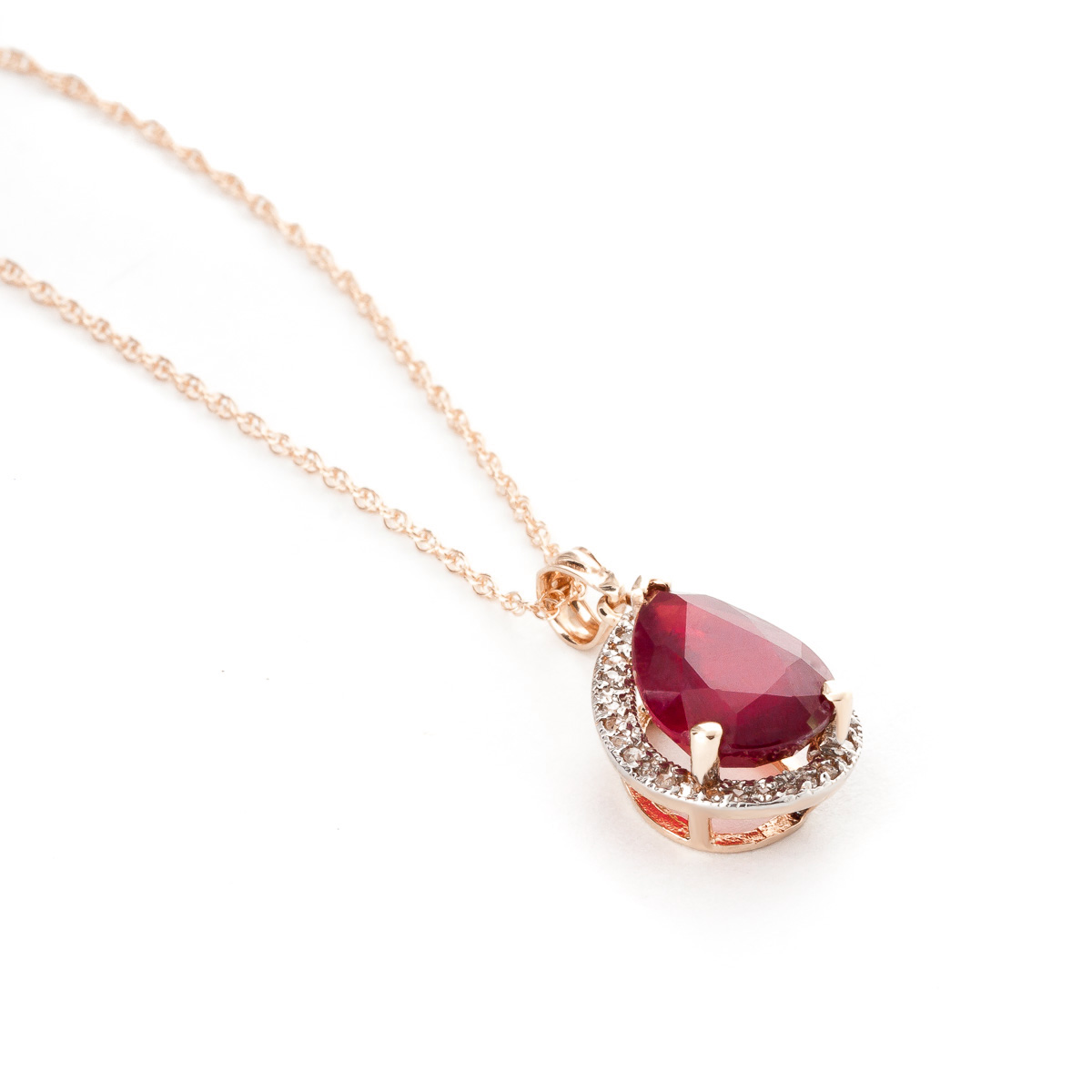 Ruby and Diamond Halo Pendant Necklace 5.35ct in 9ct Rose Gold