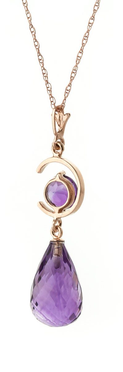 Amethyst Briolette Pendant Necklace 5.5ctw in 9ct Rose Gold