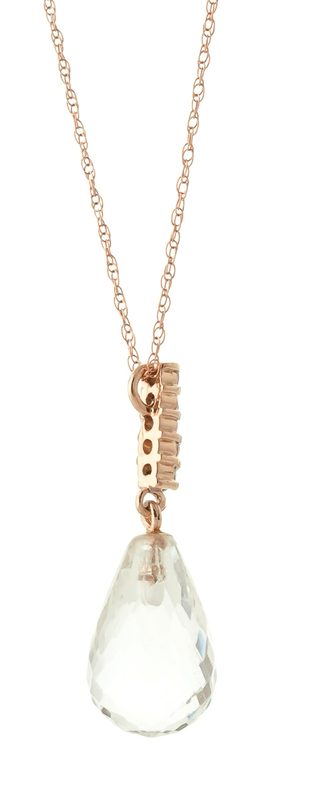 White Topaz and Diamond Pendant Necklace 7.1ct in 9ct Rose Gold