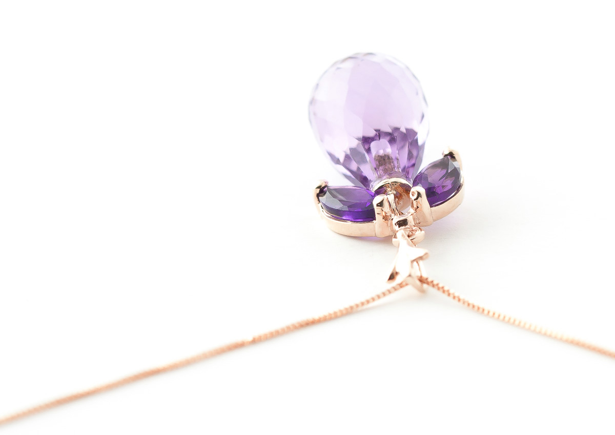 Amethyst Briolette Pendant Necklace 7.2ctw in 9ct Rose Gold