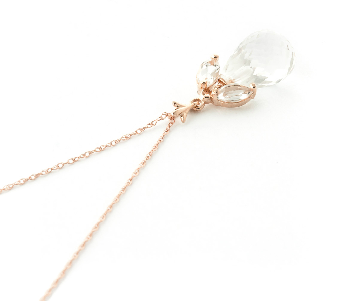 White Topaz Briolette Pendant Necklace 7.2ctw in 9ct Rose Gold