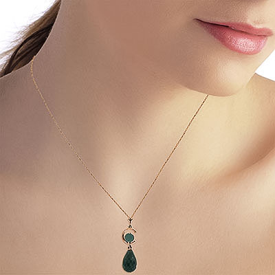 Emerald Briolette Pendant Necklace 9.3ctw in 9ct Rose Gold