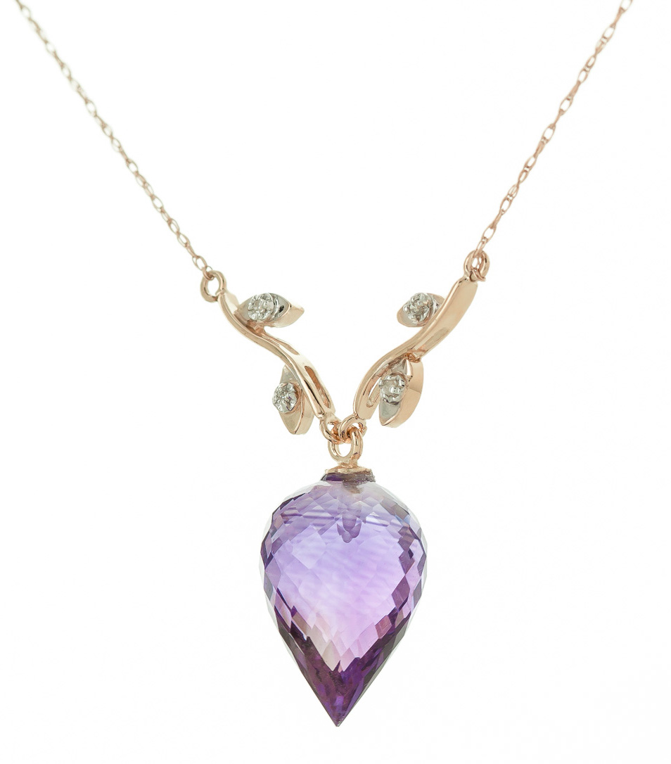Amethyst and Diamond Pendant Necklace 9.5ct in 9ct Rose Gold