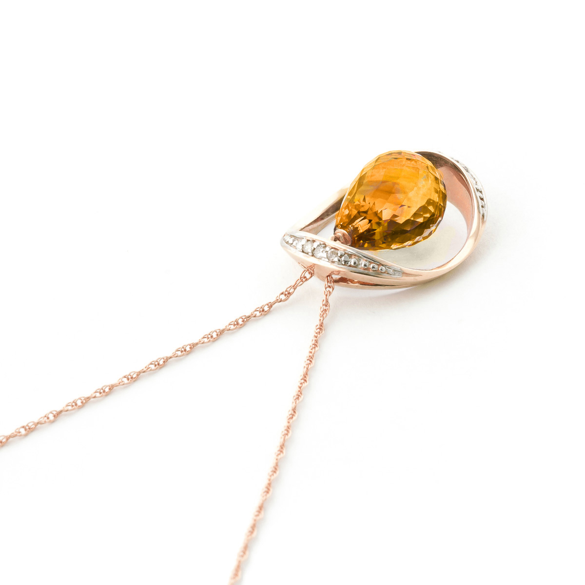 Citrine and Diamond Pendant Necklace 9.5ct in 9ct Rose Gold