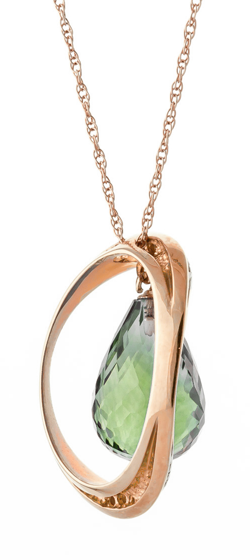 Green Amethyst and Diamond Pendant Necklace 9.5ct in 9ct Rose Gold