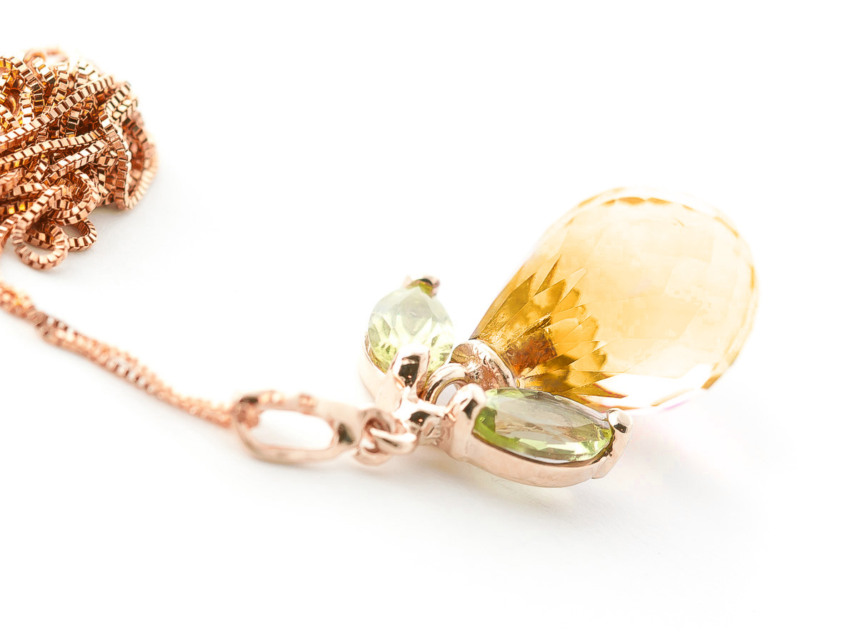 Citrine and Peridot Pendant Necklace 7.2ctw in 9ct Rose Gold