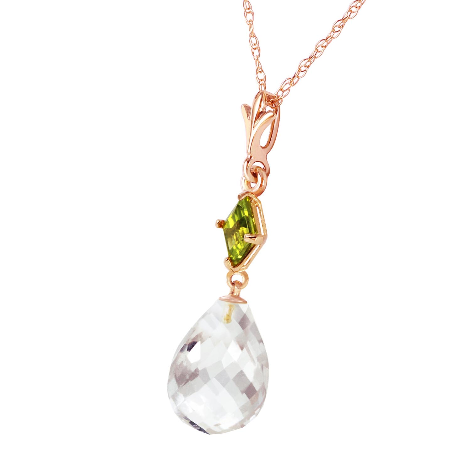 White Topaz and Peridot Pendant Necklace 5.5ctw in 9ct Rose Gold