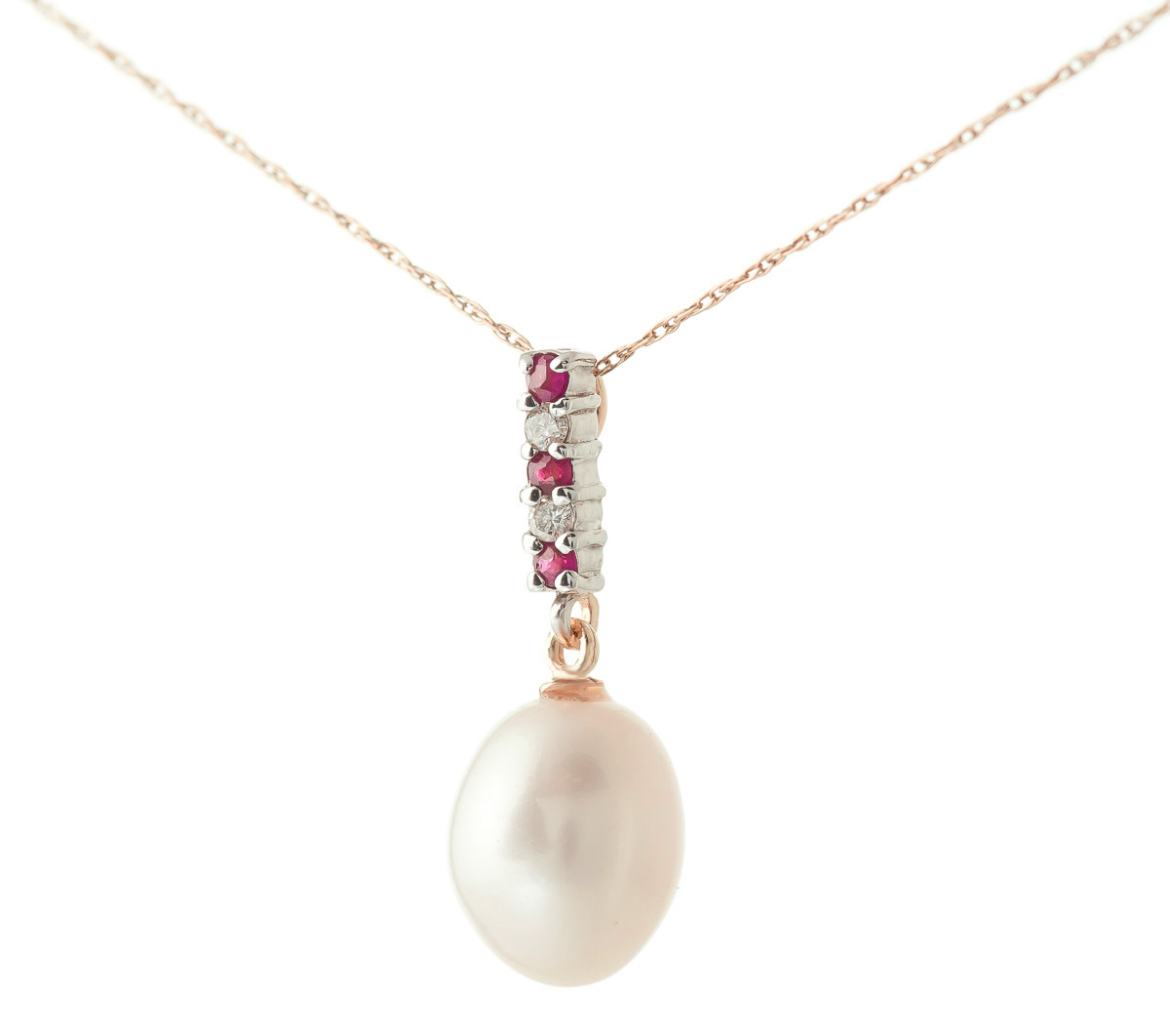 Pearl, Ruby and Diamond Pendant Necklace 4.12ctw in 9ct Rose Gold