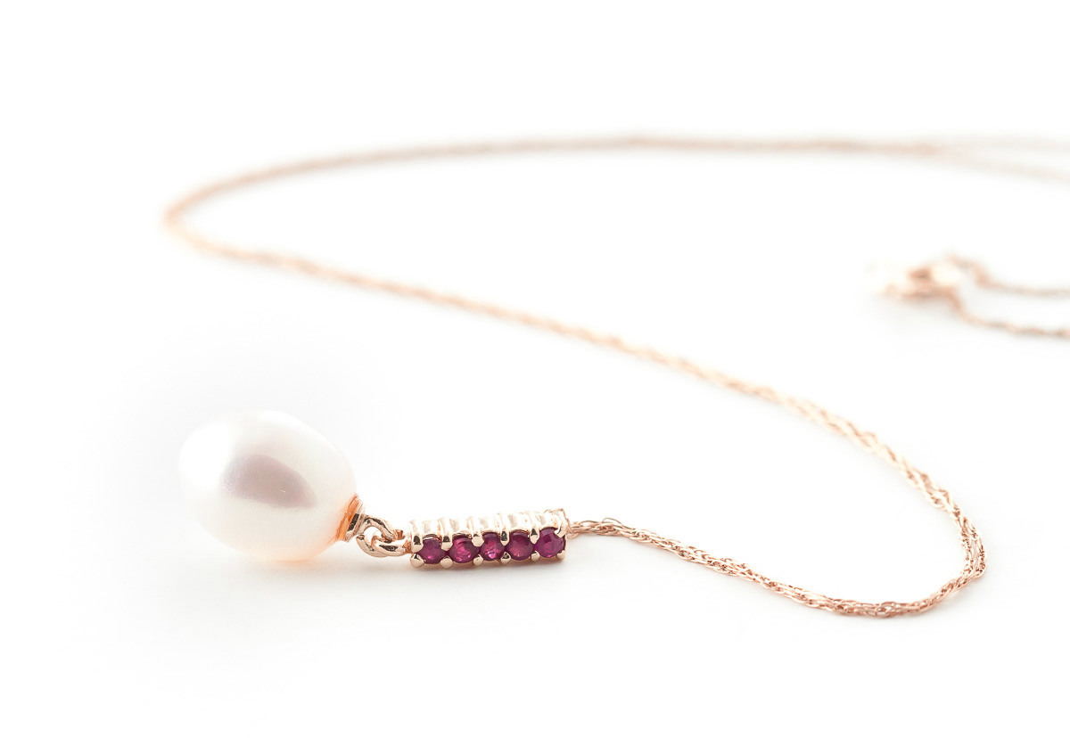Pearl and Ruby Pendant Necklace 4.2ctw in 9ct Rose Gold