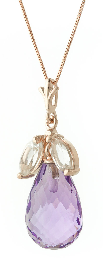 Amethyst and White Topaz Pendant Necklace 7.2ctw in 9ct Rose Gold