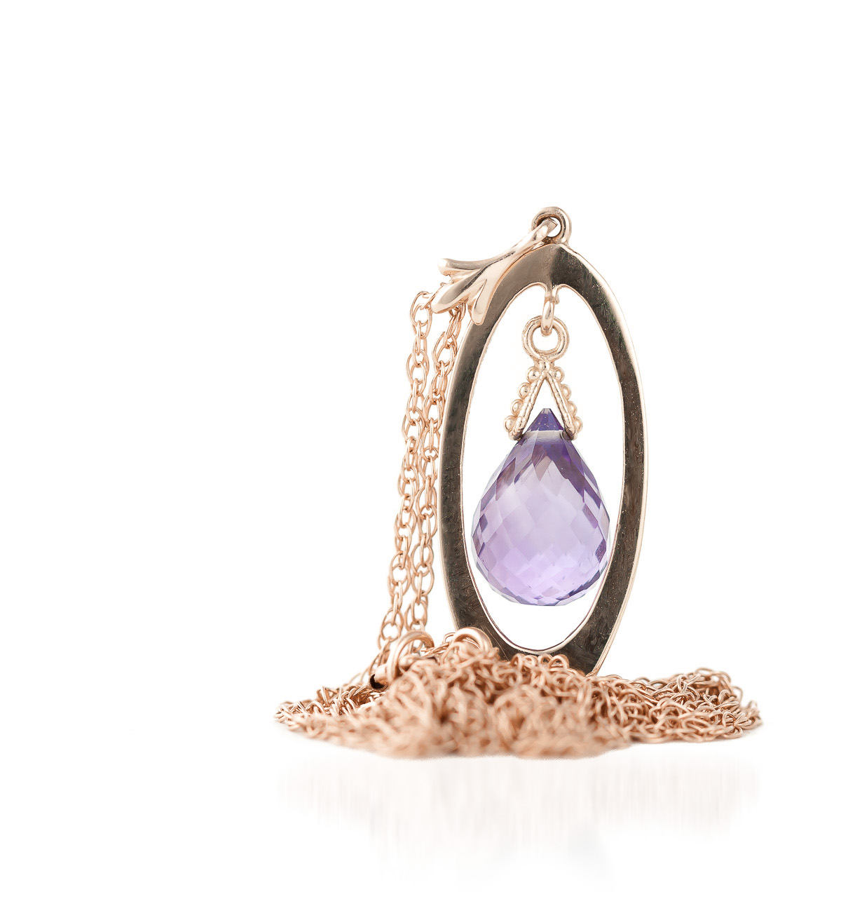 Amethyst Orb Briolette Pendant Necklace 0.7ct in 9ct Rose Gold