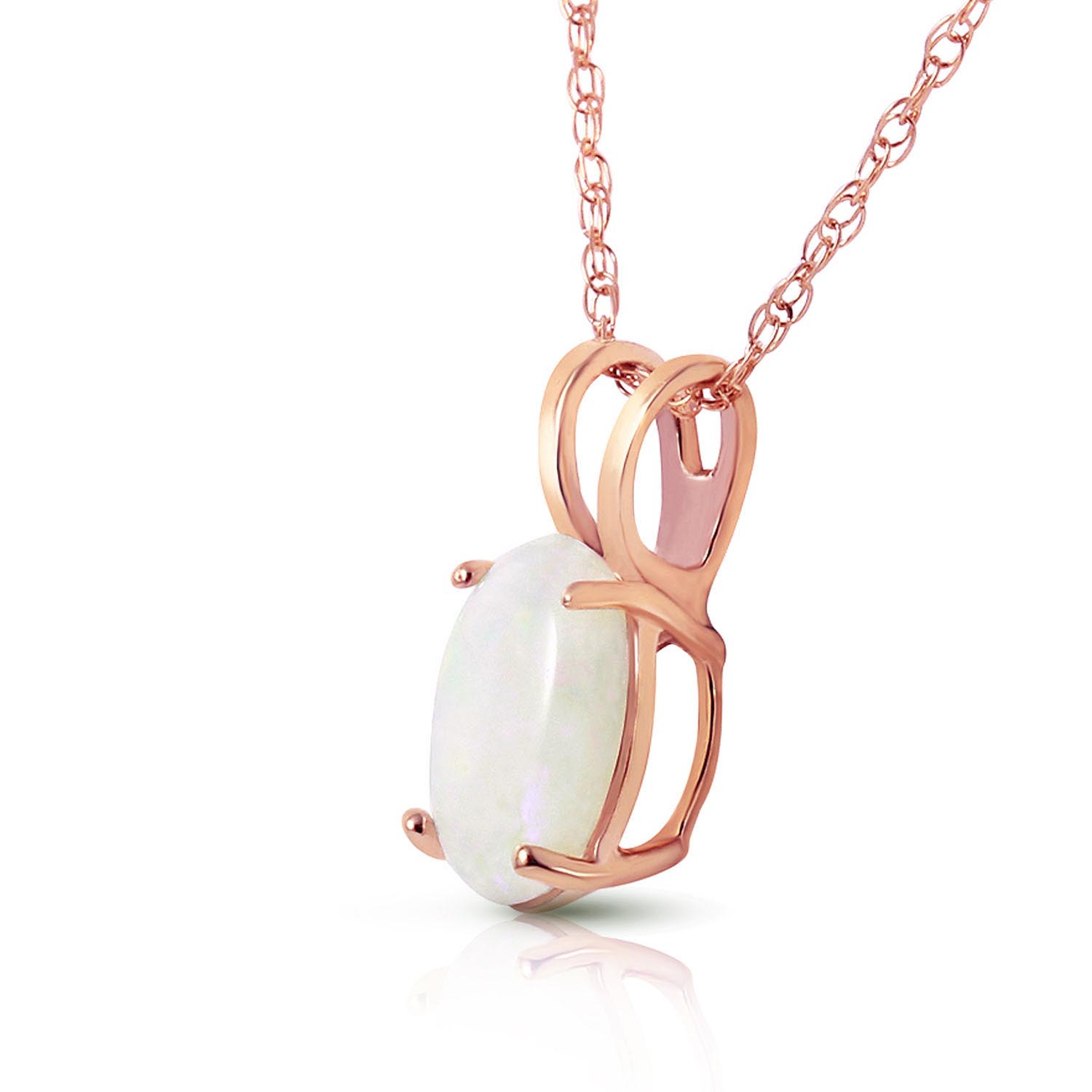 Oval Cut Opal Pendant Necklace 0.45ct in 9ct Rose Gold